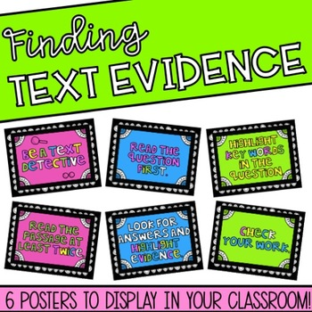 Finding Text Evidence Poster Set