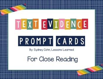 Text Evidence Prompt Cards