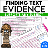 Text Evidence Proof Frames for All Subject Areas