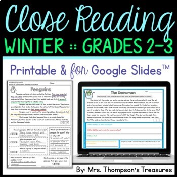 Close Reading {Finding Evidence & Making Inferences} - Winter