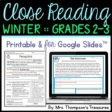 Winter Reading Comprehension Activities - Text Evidence & Inference + Digital