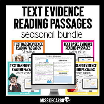 Text Evidence Reading Passages BUNDLE PACK