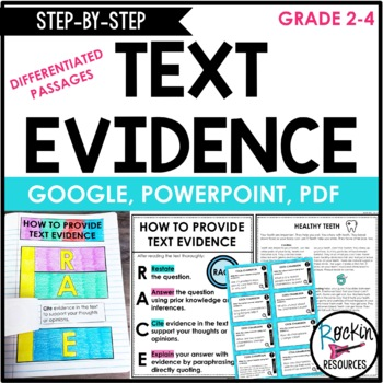 Text Evidence Reading Passages, Differentiated Reading Passages, Task Cards