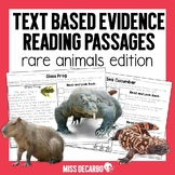 Text Evidence Reading Passages RARE ANIMALS Edition