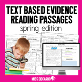Text Evidence Spring Reading Passages Digital Distance Learning