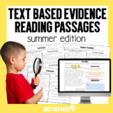 Text Evidence Summer Reading Passages Digital Distance Learning