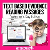Valentine's Day Text Evidence Reading Passages Digital Distance Learning