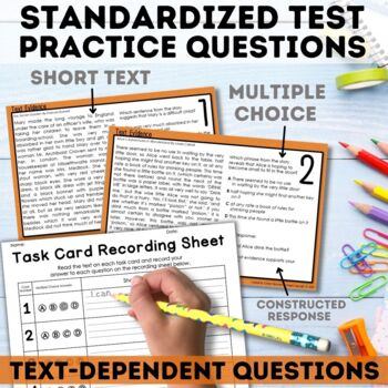 Text Evidence Reading Task Cards