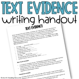 Text Evidence Handout