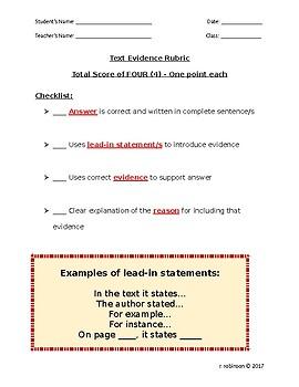 Text Evidence Rubric Checklist