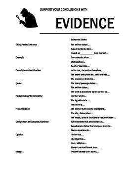 Text Evidence Sentence Starter Handout