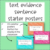 Text Evidence Sentence Starter Posters