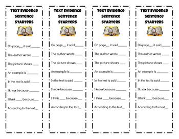 Text Evidence Sentence Starters Bookmark