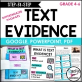 Text Evidence Reading Passages, Task Cards, Differentiated
