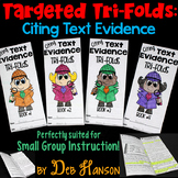 Text Evidence Small Group Instruction: Four Tri-folds | PD