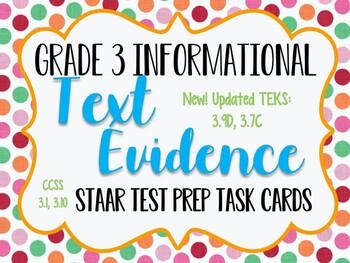 Reading STAAR Test Prep: Text Evidence Task Cards, Grade 3 TEK 3.13B