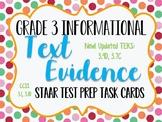 Reading STAAR Test Prep: Text Evidence Task Cards, Grade 3 TEKS 3.13B