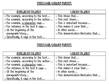Text Evidence Transition/Linking Phrases