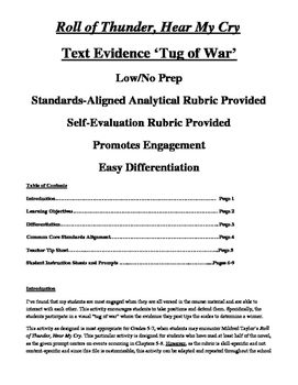 Text Evidence Tug Of War! Low/No Prep! Can Be Used With ANY Text!