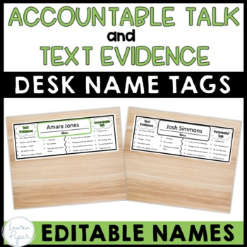 Text Evidence and Accountable Talk Desk Name Plates