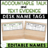 Editable Text Evidence and Accountable Talk Desk Name Plates