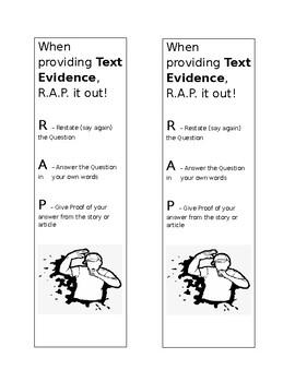Text Evidence bookmark