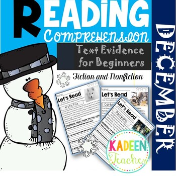 Text Evidence for Beginners-December Reading Comprehension