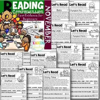 Text Evidence for Beginners- November Reading Passages