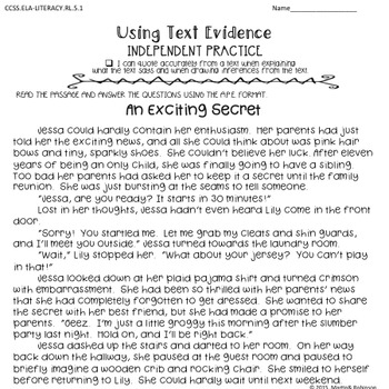 Text Evidence in Literature Activity or Center - CCSS RL.5.1