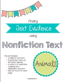 Text Evidence in Nonfiction Text: Animals