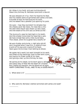 """Text Evidence with """"Twas the Night Before Christmas"""""""