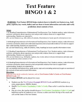 Text Feature BINGO 1 & 2