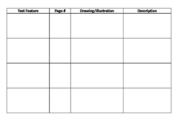 Text Feature Graphic Organizer