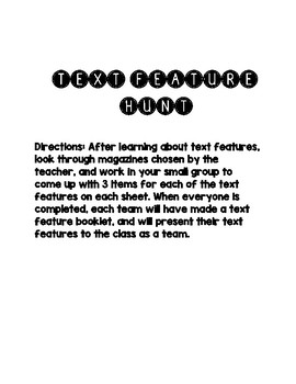 Text Feature Hunt Interactive Booklet