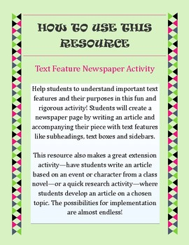 Text Feature Newspaper Activity || Practice with Nonfiction Text Features