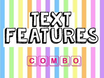 Fiction Text Feature Posters and Stories with Questions Combo