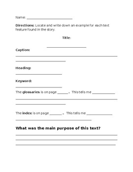 Text Feature Review Worksheet