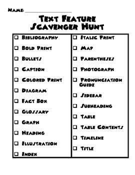 Text Feature Scavenger Hunt