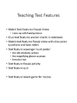 Text Feature Scavenger Hunt Graphic Organizer