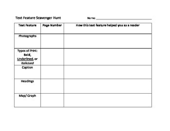 Text Feature Scavenger Hunt Table