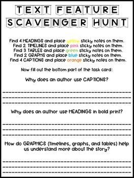 Text Feature Scavenger Hunt Task Card