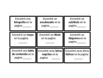 Text Feature Scavenger Hunt in Spanish