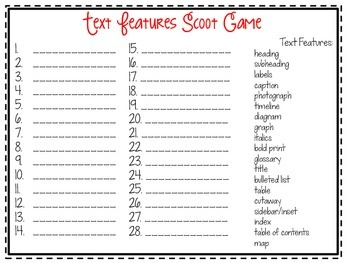 Text Feature Scoot {Task Cards}