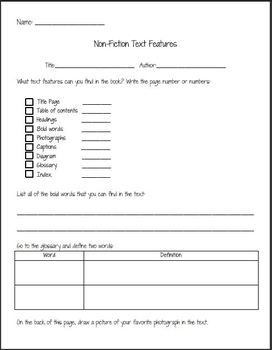 Text Feature Worksheet- Use With Any Non-Fiction Text!