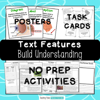 Nonfiction Text Features: Posters, Centers, and No Prep Activities