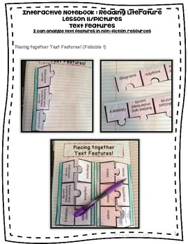 Text Features Foldables for Interactive Notebooks