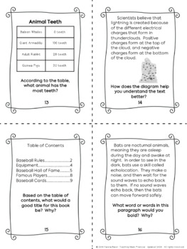 Text Features Task Cards