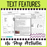 No Prep Nonfiction Text Features Activities - Distance Learning Packet