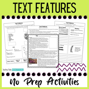 No Prep Nonfiction Text Features Activities - Text Features Practice
