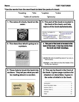 Text Features Assessment- 2nd Grade